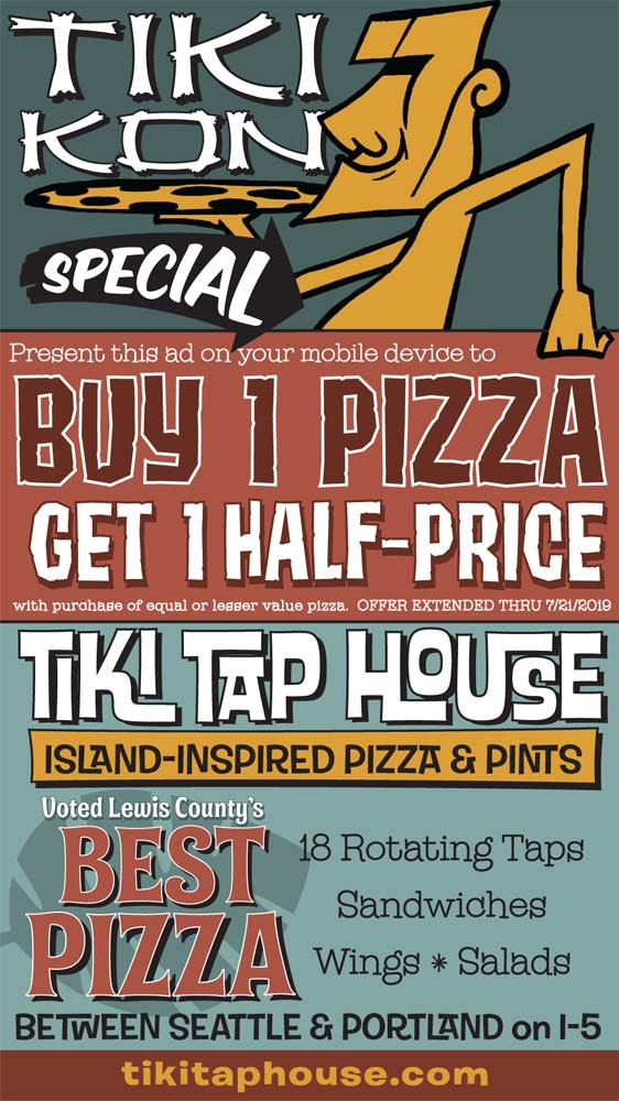 Tiki Tap House coupon, buy one pie and get a second of equal or lesser value for half price. Offer expires 7/6/2019.