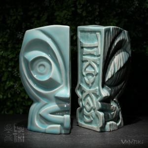 Eye of the Tiki official event mug in celadon blue.