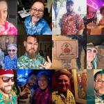 A collage of Tiki Kon fans wearing Hawaiian shirts and dresses